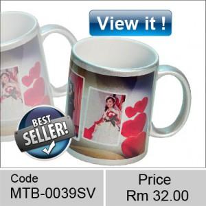 metallic Silver colored mugs